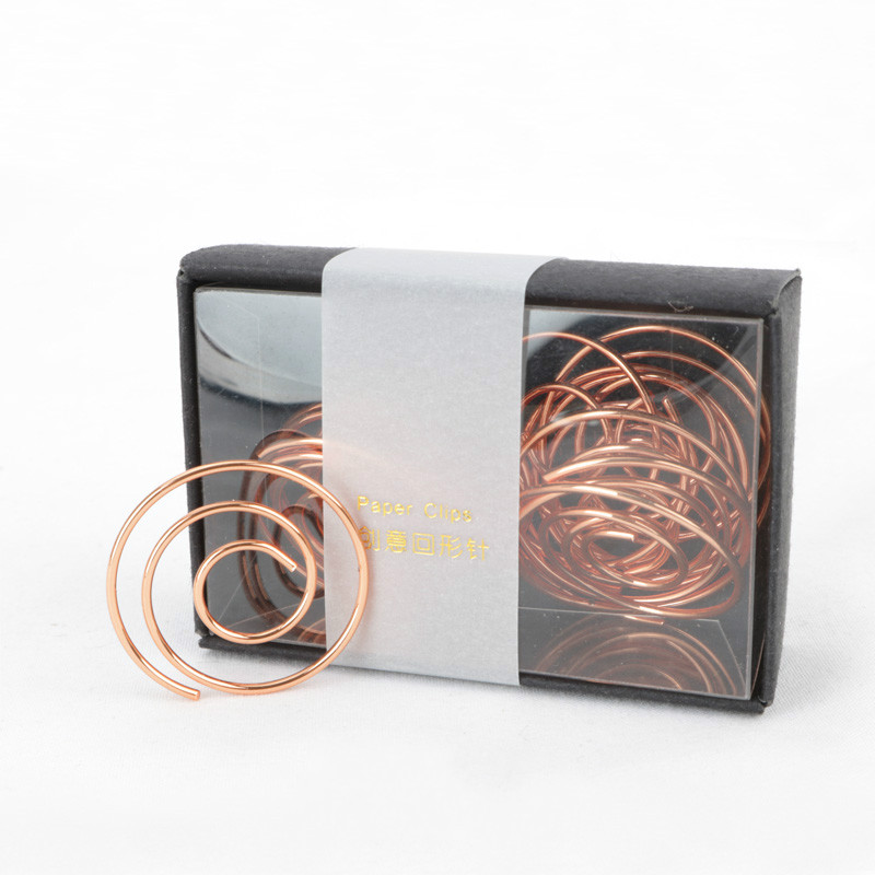 Free Shipping Befriend Metal Paper Clips Packed With Black Gift Box Circle Style Rose Gold Clip