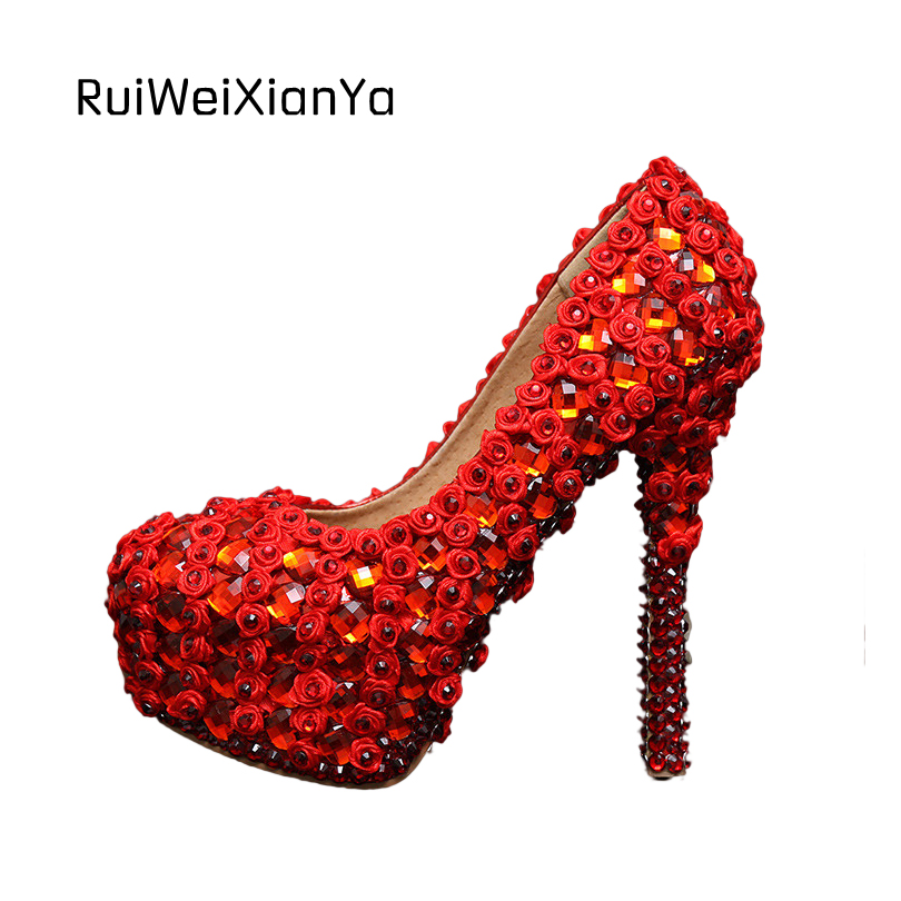 2017 New Fashion Spring Sweet Flowers Rhinestone Platform Bridal Red Wedding Shoes for Women Pumps High Heels Plus Size Hot Sale 2017 new fashion spring ladies pointed toe shoes woman flats crystal diamond silver wedding shoes for bridal plus size hot sale