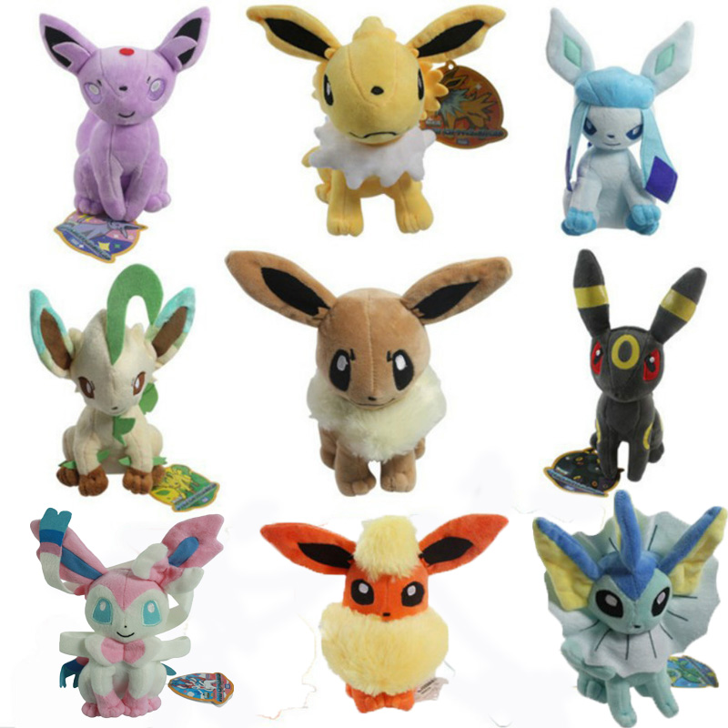9Pcs Set Eevee Vaporeon Plush Toys Dolls Soft Stuffed Animals Anime Figure Kids Toys For Children