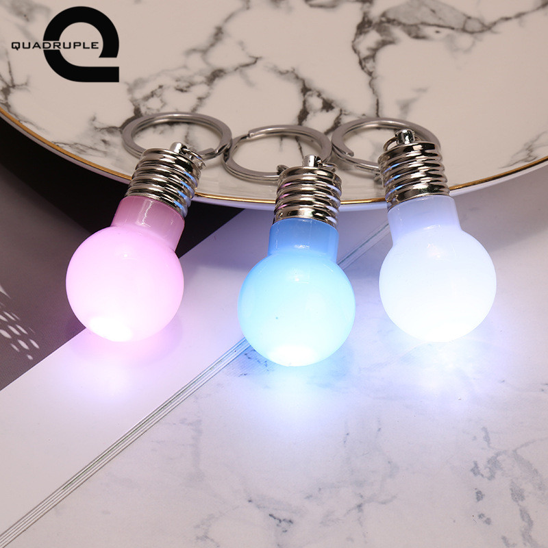 Quadruple Mini LED Light Bulb Keychain Candy Color Flash Lamp Key Rings Novelty Car Illuminate Pendant Key Chain Christmas Gift