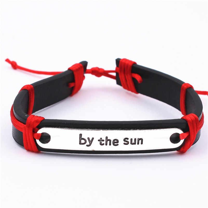 Женский кожаный браслет ручной работы с гравировкой «Live by the sun», 10 цветов, летний подарок на удачу, открытка с желанием, для морского пляжа