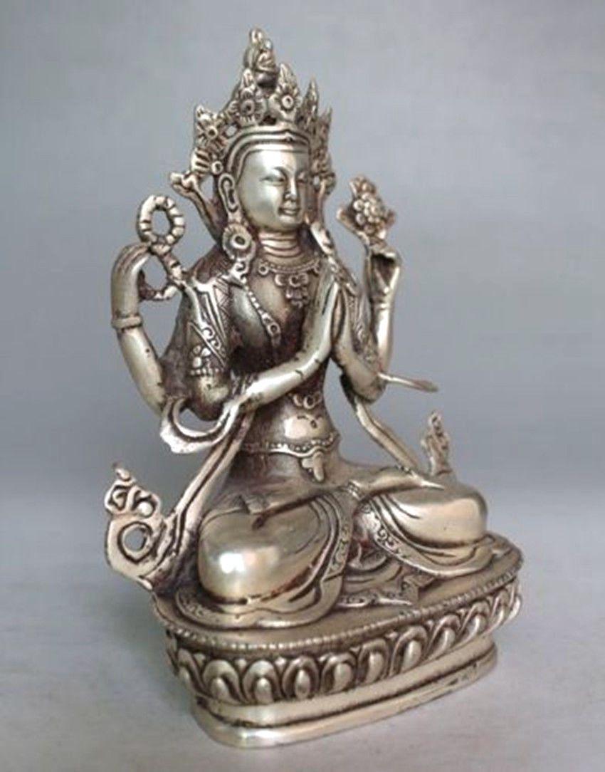 Old Tibet Buddhism Silver Bodhisattva Four-armed Avalokiteshvara Buddha Statue