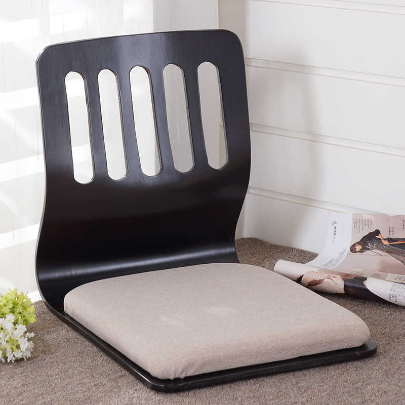 chaise de sol sans pieds design japonais mobilier de salon pour la maison chaise de table kotatsu tatami zaisu finition noire 2 pieces lot