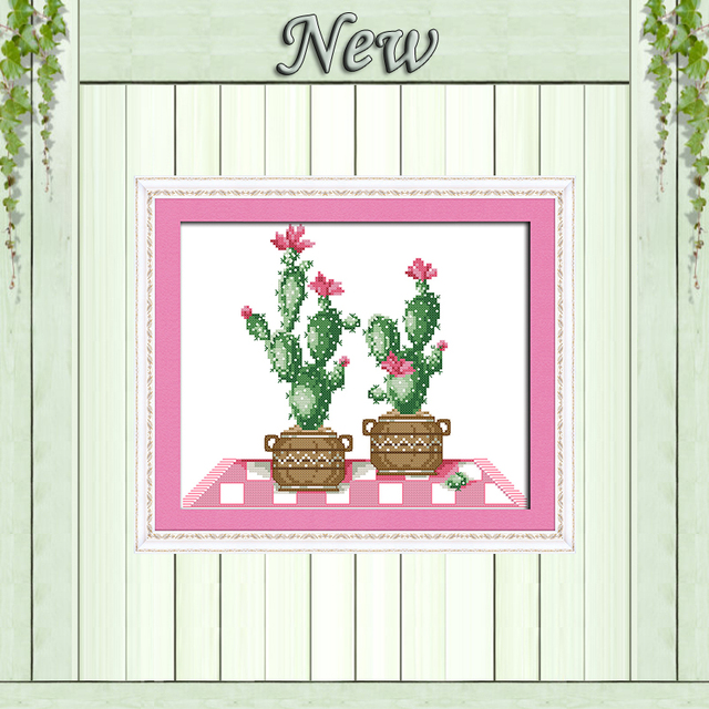 Cactus Pot Plant Diy Decor Painting Counted Printed On Canvas Needlework Embroidery Sets DMC 11CT 14CT