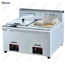 GF71/GF72 Commerical Gas lgp Deep Fryer for Potato Chips Chicken fried Oil fryer with 1 or 2 tanks Stainless Steel цена и фото