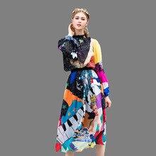 High Quality Two-piece 2019 New Spring Summer Women Skirt Moon Angel Cartoon Printing Garden Collar Long-sleeved Long Suit