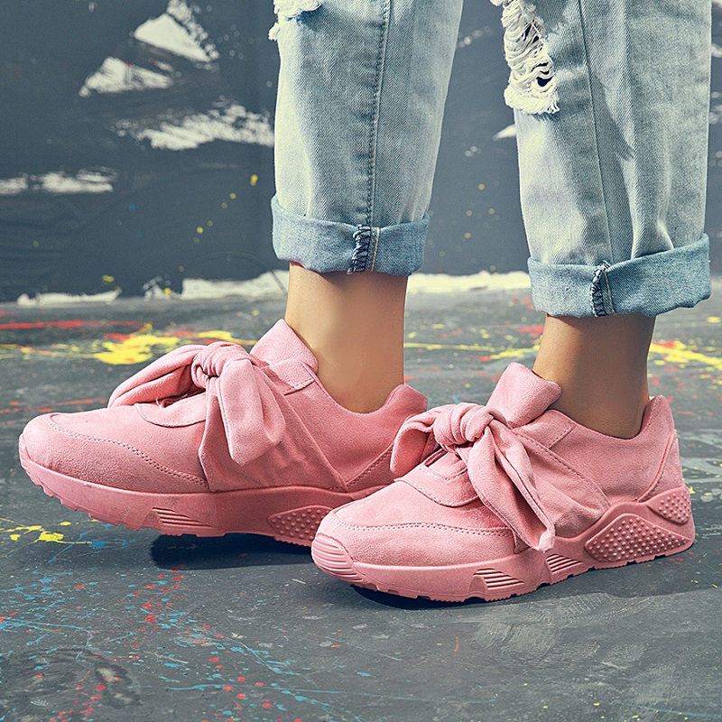 Flock Butterfly-Knot Women Vulcanize Shoes Summer Fashion Sneakers Tenis Feminino Casual Added Shoes Slip-On Flat Sneaker ABT970