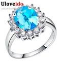 Uloveido fresco anillos de piedra cristalina de plata de las mujeres plateó el anillo de bodas de la joyería cubic zirconia cz dimond joyas vintage 5% de descuento j454