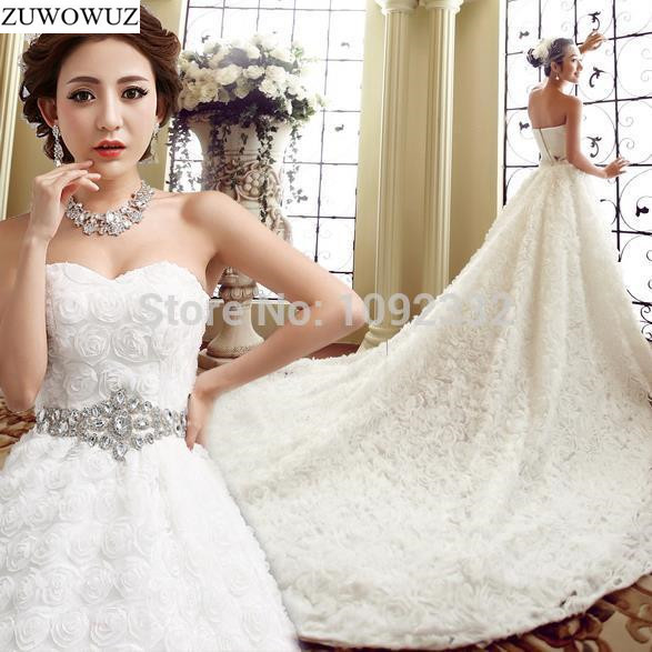 2017 Stock New Plus Size Bridal Gown Women Tube Top Long Train Tail Diamond Wedding Dress