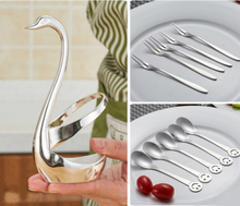 Stainless Steel Fruit Fork Coffee Spoon Creative Swan Tableware Set Spoons and Forks bento swan spoon lunch box cutlery coltello