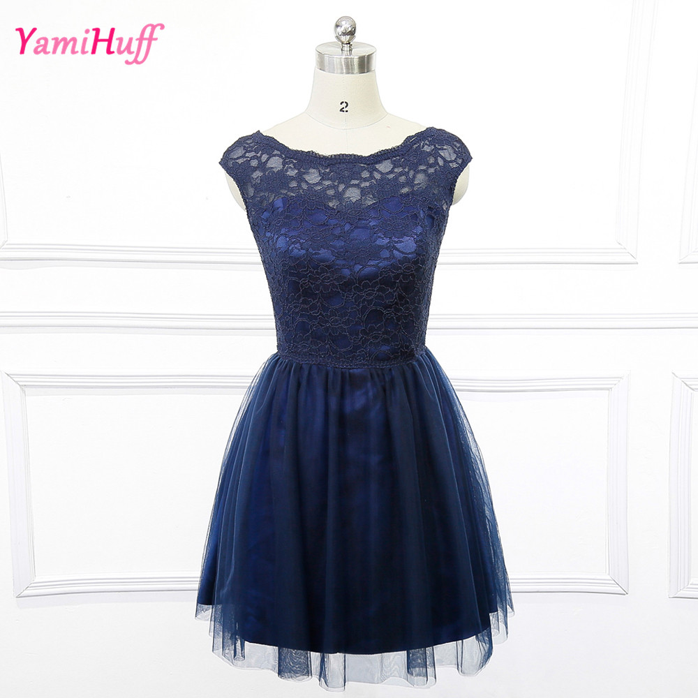 Buy modest short navy blue bridesmaid for Short blue wedding dresses