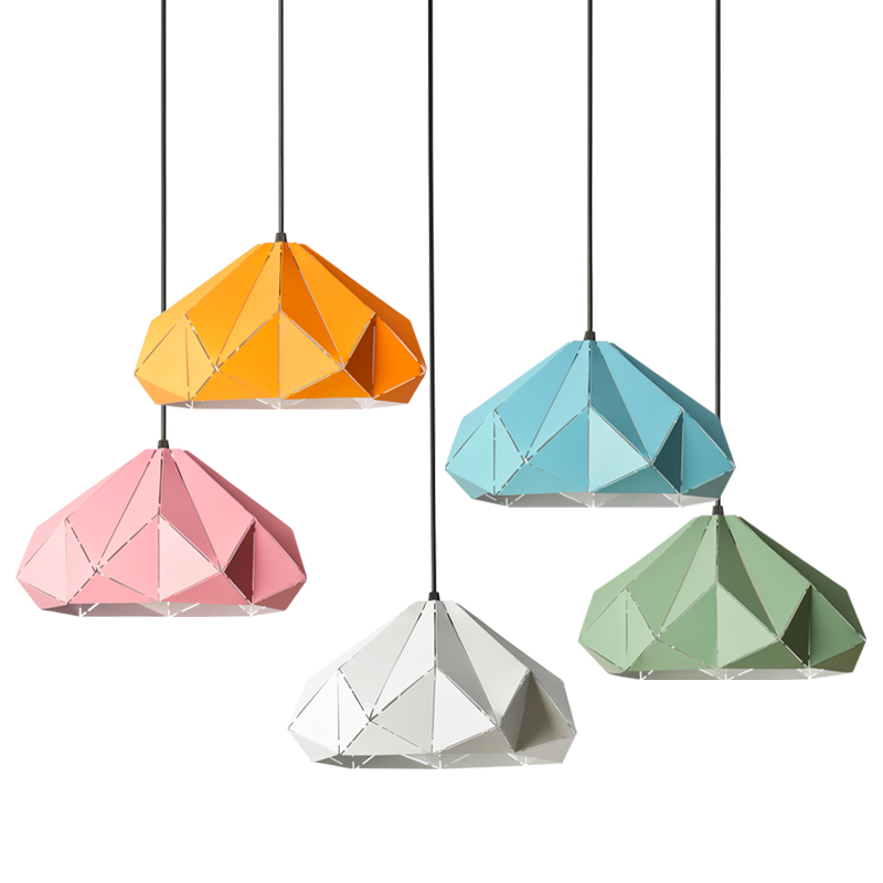 Europe Colourful Minimalism pendant lights, Wrought iron polygon hollow droplight, household Restaurant decorative home lighting european contracted pendant lights skirt tail aluminium droplight household decorative home restaurant decorative lighting
