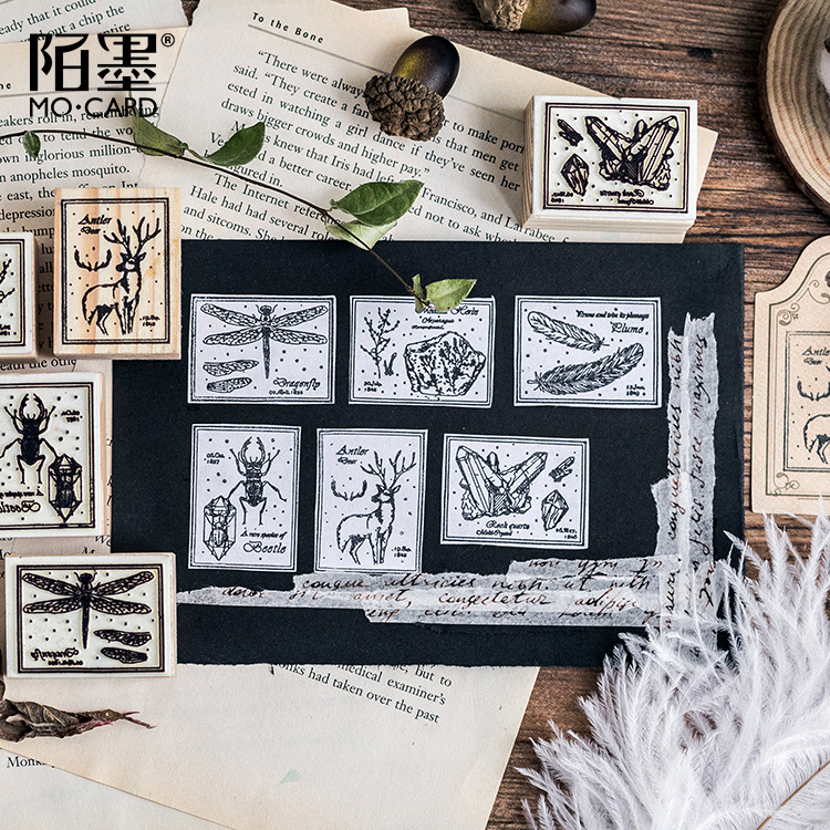 Creative Beetle Fossil Feather Wooden Rubber DIY Stamp Set Student Prize Promotional Gift Stationery 42 pcs set creative letters and numbers stamp gift box wooden stamp wooden box decorative diy funny work 3 styles