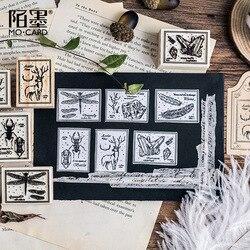 Kreative Käfer Fossilen Feder Holz Gummi DIY Stempel Set Student Preis Werbe Geschenk Schreibwaren