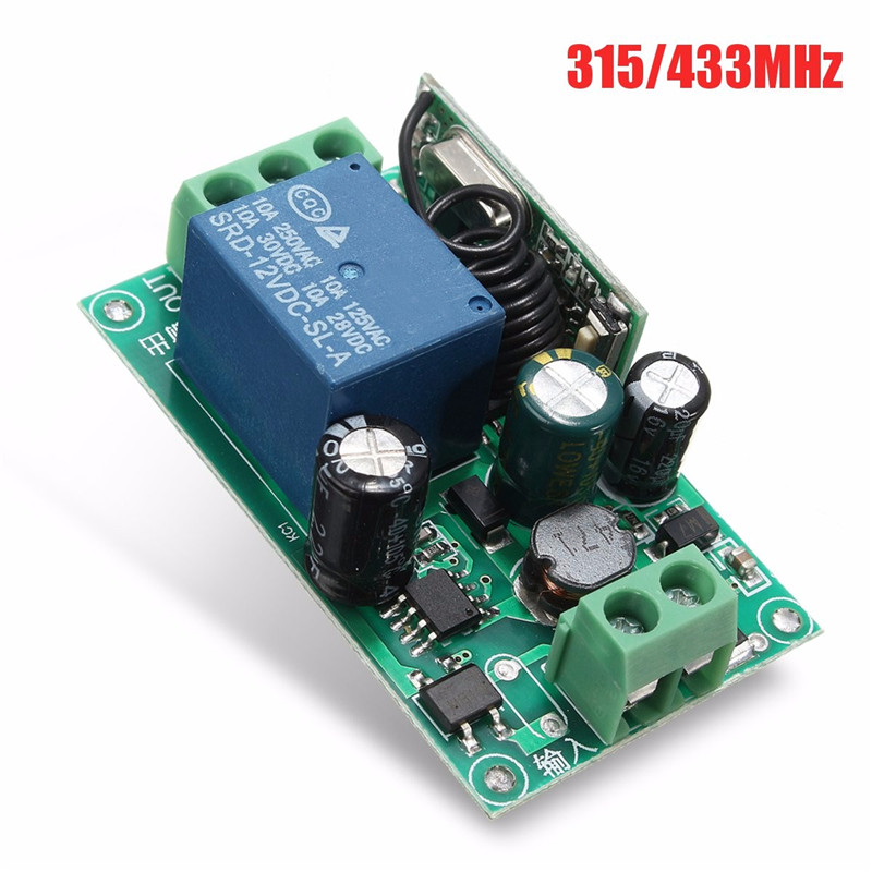 220V 1 Channel  Wireless Relay RF Remote Control Switch Heterodyne Receiver 315/433MHZ
