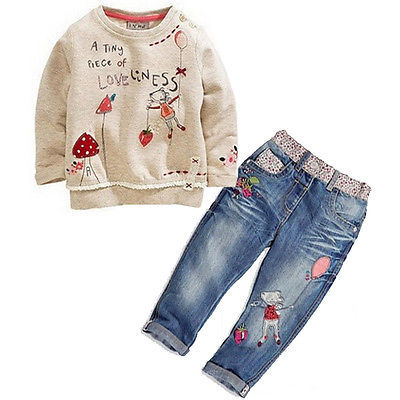 Cute Kids Baby Lovely Girls 2-Piece Clothing Tracksuits Long Sleeve Cartoon Mouse Printed Sweater+Jeans suit Set Outfits 2-7Y