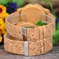 Reloj de madera unisex dial textil rayas cuadros 4