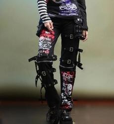 Di Modo degli uomini di Goth Punk Ucciso Matt Mutanda degli uomini Non-mainstream Graffiti Skulls Etero Air-vent Uomini pantaloni! 27-37