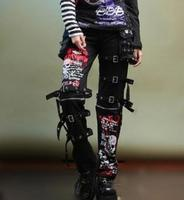 Men's Fashion Goth Punk Killed Matt Men's Pant Non mainstream Graffiti Skulls Straight Air vent Men trousers ! 27 37