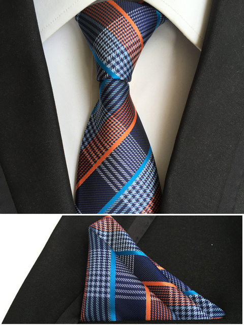 8962c7c39d0c5 top mens fashion ties pocket square tie set men neckties business polyester  silk tie handkerchief pink plaids neck T001
