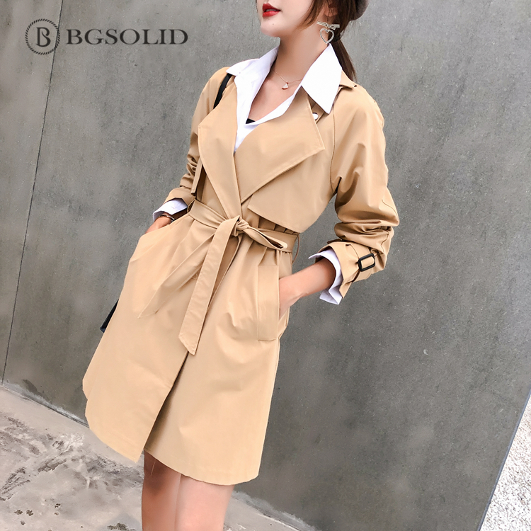 BGSOLID spring/summer 2019 new pure color belt with small long and medium long   trench   coat schoolgirl coat, British style