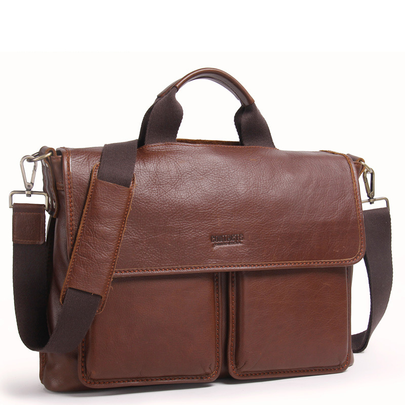 Briefcase Genuine-Leather Computer-Bag Men Handbag Business Men's Classic For 14-