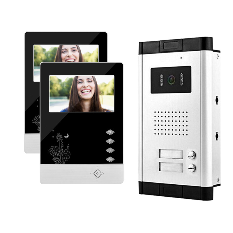 4.3inch wired color video door phone intercom system kit set 2 monitors+1 IR outdoor doorbell camera for apartment two families brand new wired 7 inch color video intercom door phone set system 2 monitor 1 waterproof outdoor camera in stock free shipping