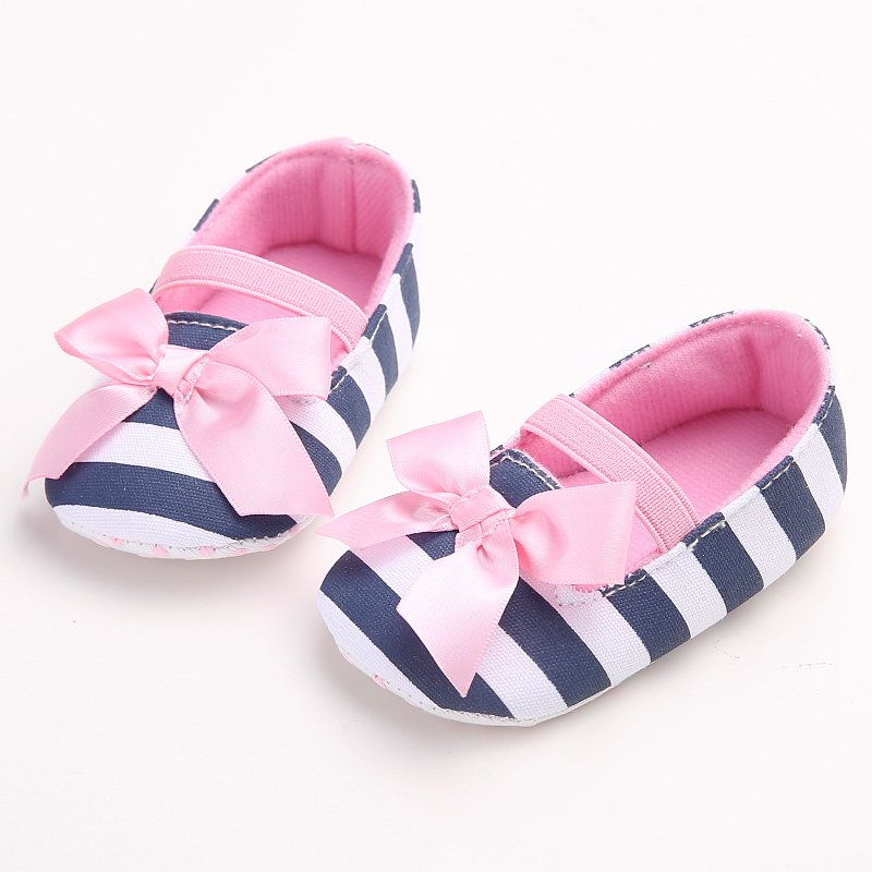 ФОТО New Infant Baby Girls Shoes Striped Bowknot Anti Slip Princess Shoes First Walkers 0-18M S01