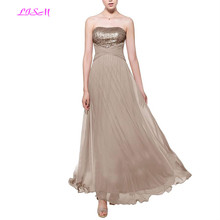 Sparkly Gold Sequin Evening Gowns Ladies Long Dresses A-Line Ruffled Chiffon Modest Formal Dress 2019 robe femme soiree