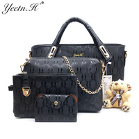 Yeetn H Women 4 Set Handbags Pu Leather Fashion Designer Handbag Shoulder Bag Black Vintage Female