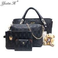 Yeetn H Women 4 Set Handbags Pu Leather Fashion Designer Handbag Shoulder Bag Black Vintage Female