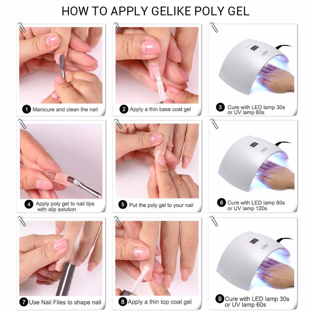 Gelike 60g Poly Gel Finger Nail Extension Crystal Jelly Polygel Nail Gel UV LED Hard Gel Acrylic Builder Gel Slip Solution in Nail Gel from Beauty Health