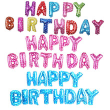 13pcs/set 16inch Happy Birthday Letters Foil Balloon Party Decorations Adults Kids Helium Air Balloons Favors
