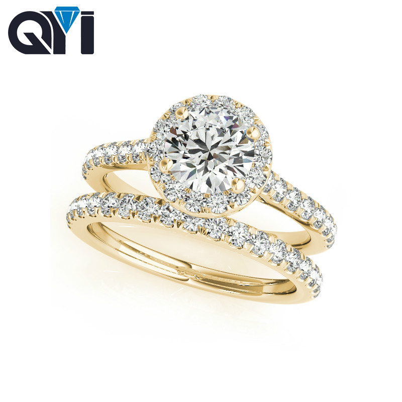 QYI 14k Solid Yellow Gold Halo Engagement Ring Sets 1ct Round Cut Simulated Diamond Luxury Wedding Band Rings For WomenQYI 14k Solid Yellow Gold Halo Engagement Ring Sets 1ct Round Cut Simulated Diamond Luxury Wedding Band Rings For Women