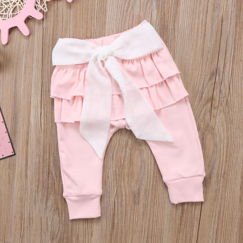 Infant Baby Girl Layered Ruffle Pants Toddler Kid Long Pants Bowknot Casual Bottoms Clothing 3