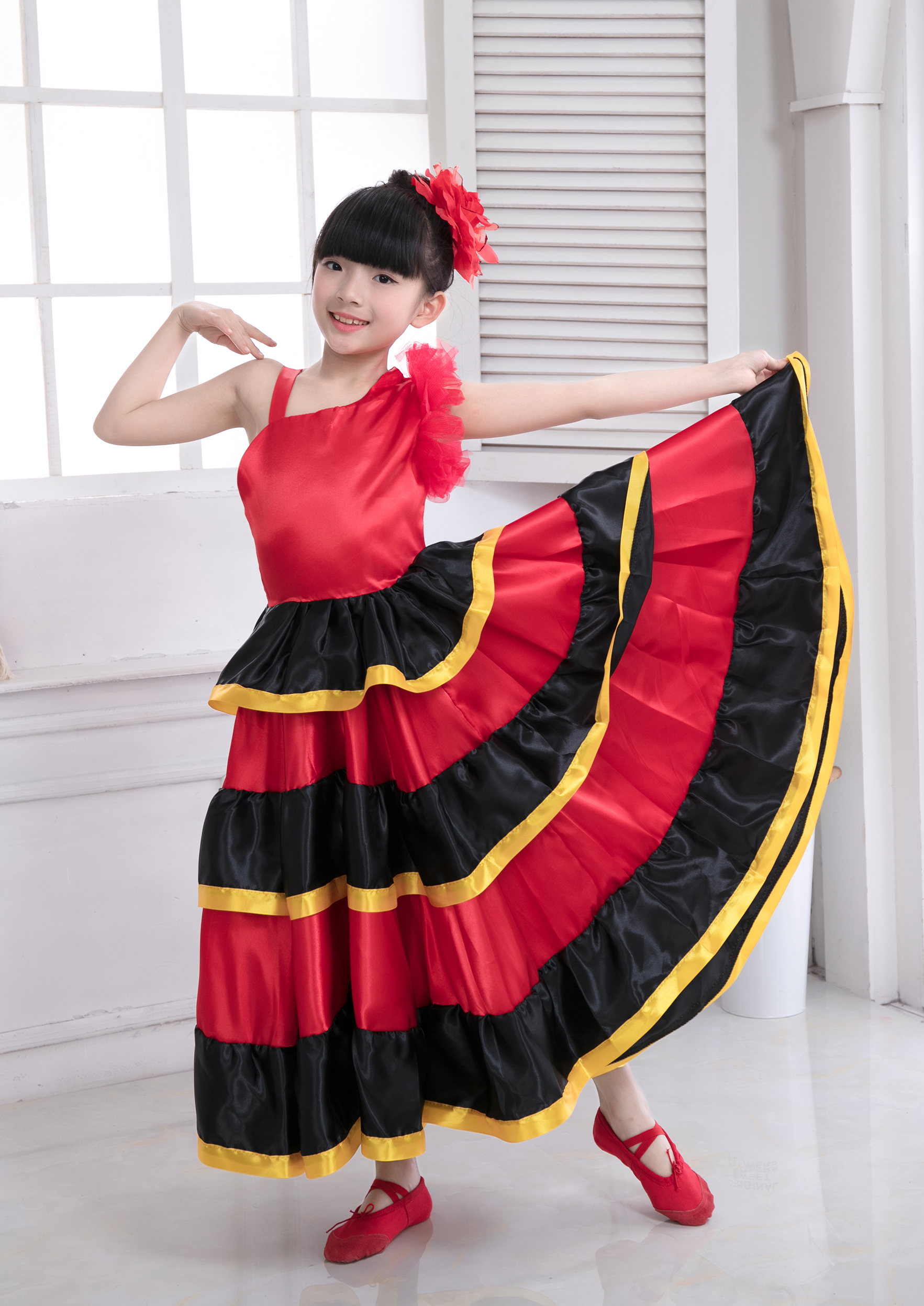 Dropshipping Children Spanish Flamenco Skirt Belly Dance Skirt Spanish Dance Costumes for Girl Vestido Flamenco Skirt-540 Degree