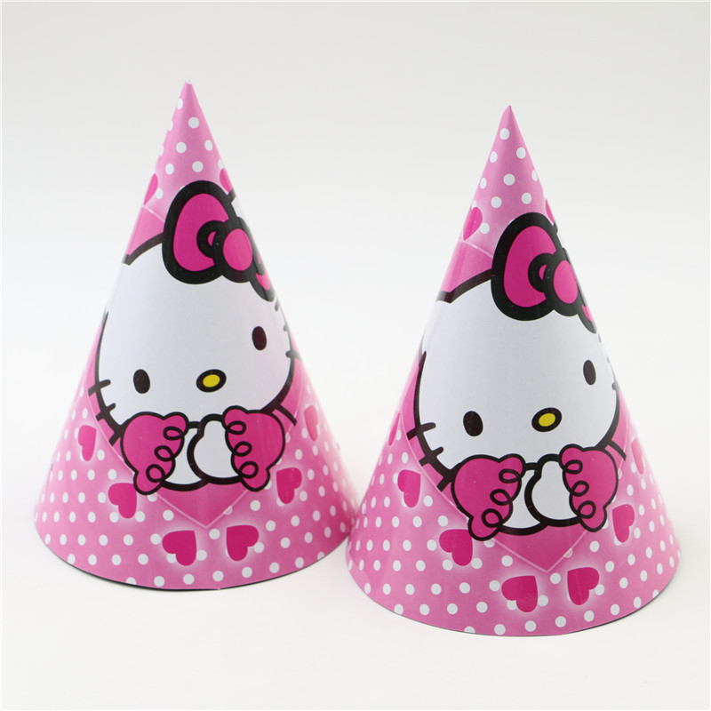 Lovely Cartoon Hello Kitty Theme Paper Cape Kids Girls Favor Supplies 8 Pcs Lot For Child Birthday Cone Party Hat With Strings In Hats From Home