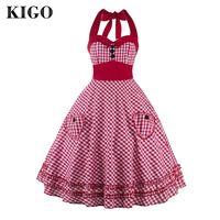 KIGO Summer Style Retro Audrey Hepburn Vestidos Women Vintage Dresses 50s 60s Plaid Women Dress Swing