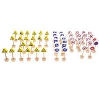 Set of 32pcs Kids Developmental Wooden Road Train Traffic Signs Toddler Preschool Cognitive Toy