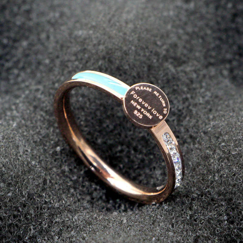 Fashion Stainless Steel Geometry Forever Love Letter Blue Round Crystal Ring Rose Gold Color Women Lady Party Gift