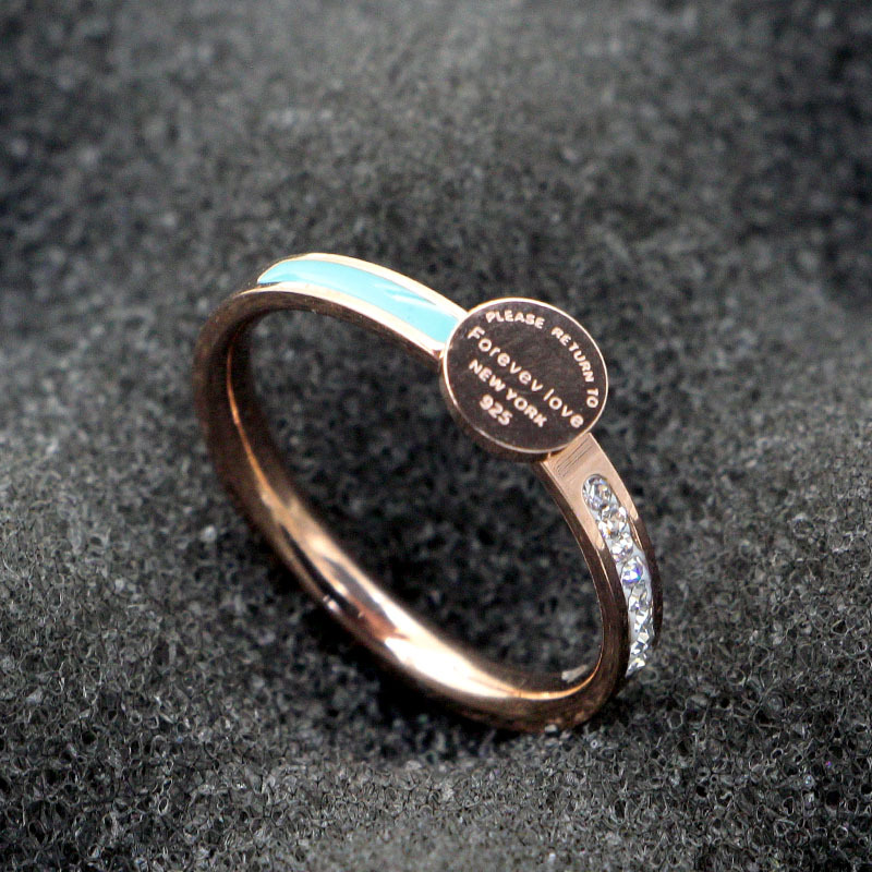 Модные Нержавеющаясталь в виде геометрических фигур надпись Forever Love синий круглый кристалл кольцо из розового золота Цвет Для женщин леди вечерние подарок