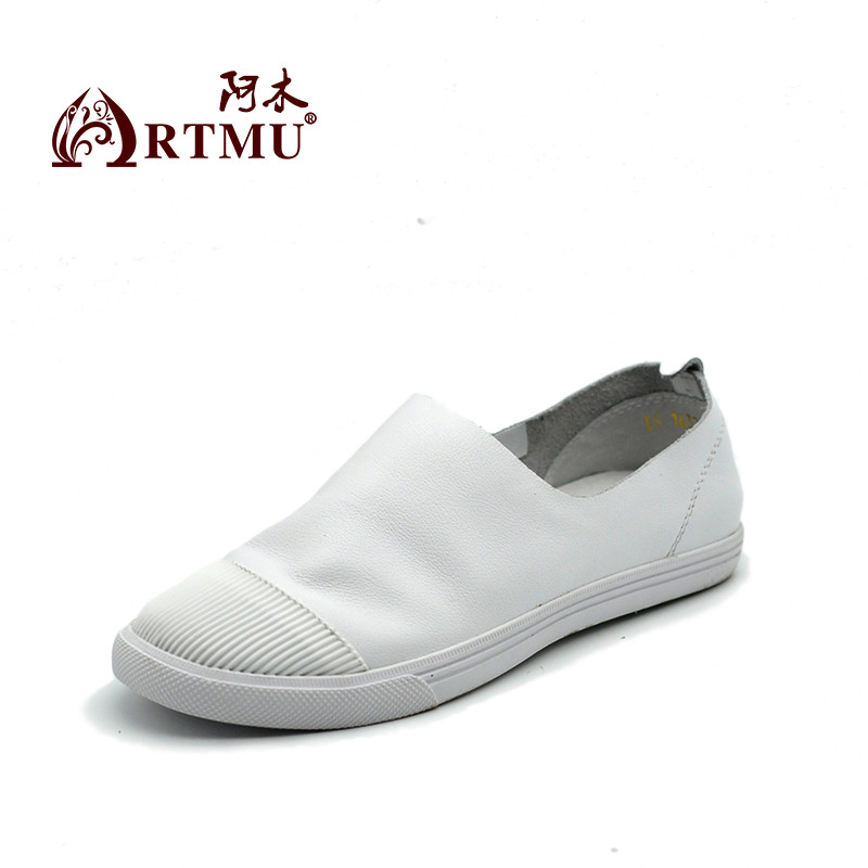 Artmu Women Shoes Sneakers White Shoes Handmade Genuine Leather Shoes Women Slip On Shoes For Woman