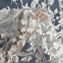 130cm*1yard ivory white French tulle Lace Fabric for wedding dress 3D Flowers embroidery lace appliques dresses DIY sewing