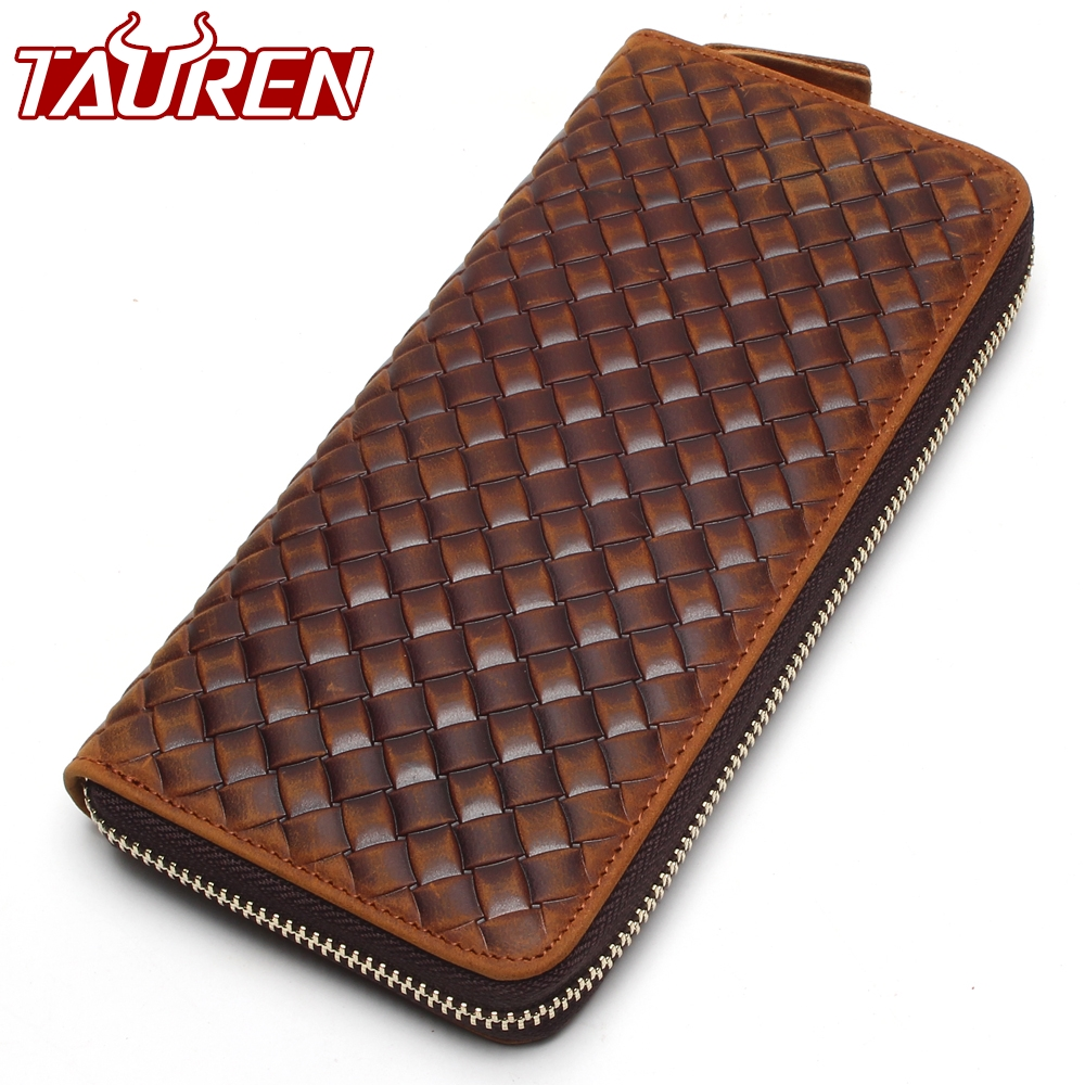 New Arrival Brand Weave Clutch Men Wallets Male Wallet Genuine Leather Long Purses Card Holder Coin Purse brand handmade genuine vegetable tanned leather cowhide men wowen long wallet wallets purse card holder clutch bag coin pocket