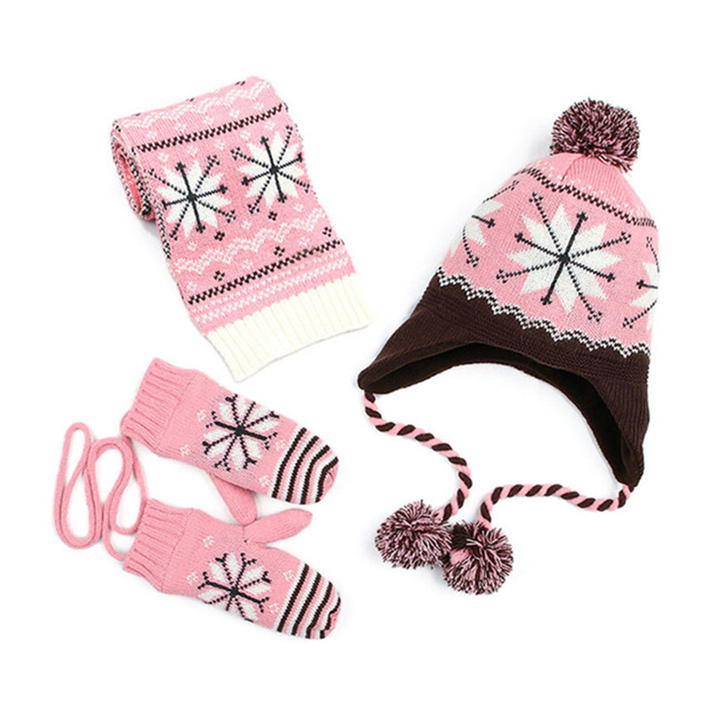 New Fashion Snowflake Baby Hat Scarf for Girls and Boys Crochet Winter <font><b>Warm</b></font> Baby Caps Kids Children Hat Scarf <font><b>Gloves</b></font> set