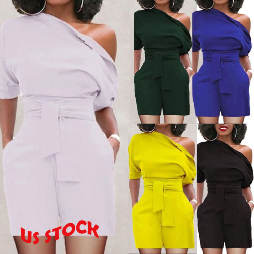 New Women Clubwear Summer Playsuit Solid Party Off one shoulder   Jumpsuit   Romper Shorts Plus Size
