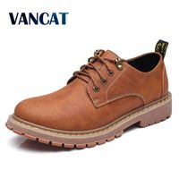VANCAT High Quality Genuine Leather Men Shoes Autumn Winter Work Safety Shoes Fashion Casual Men Shoes