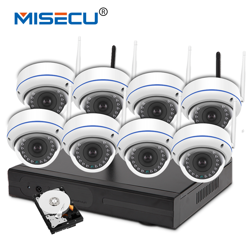 MISECU 960P 8ch Wifi VGA/HDMI KIT plug&play Vandalproof night vision 4TB HDD Wireless nvr Eseenet APP P2P WIFI IP Camera system ...