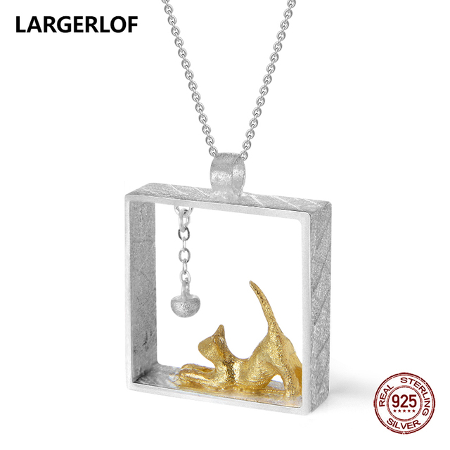 LARGERLOF 925 Sterling Silver Pendant Necklaces Women Handmade Fine Jewelry Cat Pendant Silver 925  PD41035