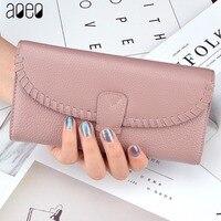 AOEO Genuine Leather Women Wallet Dollar Price Phone Pocket Card Holder Female Zipper Clutch Coin Purse